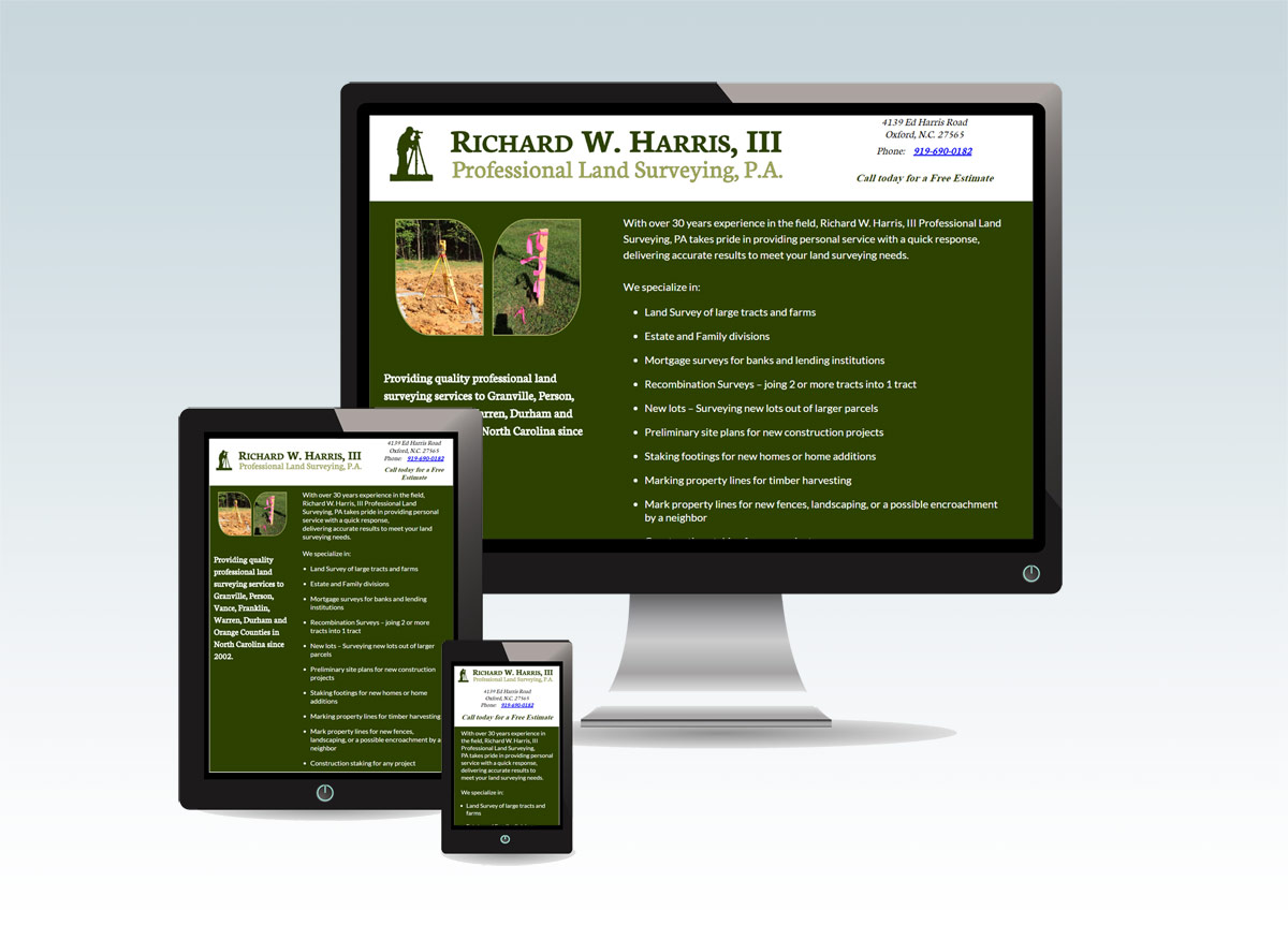 Starter Web Presence for Richard W. Harris III, Professional Land Surveying P.A.