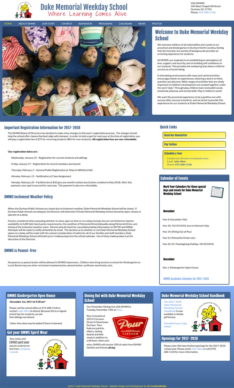 Website Redesign for Duke Memorial Weekday School