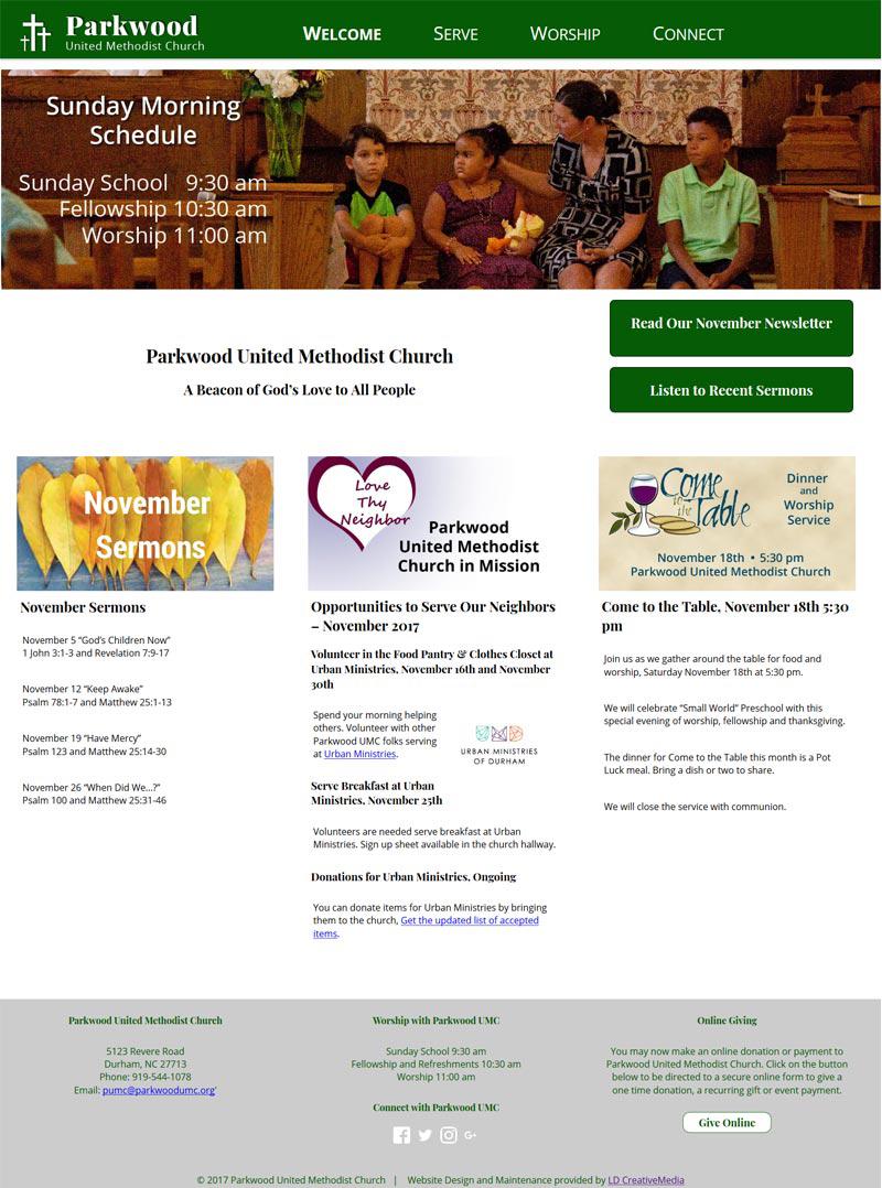 Website Redesign for Parkwood United Methodist Church