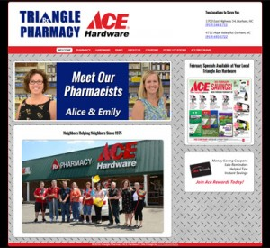 Updated Website Design for Triangle Pharmacy Ace Hardware