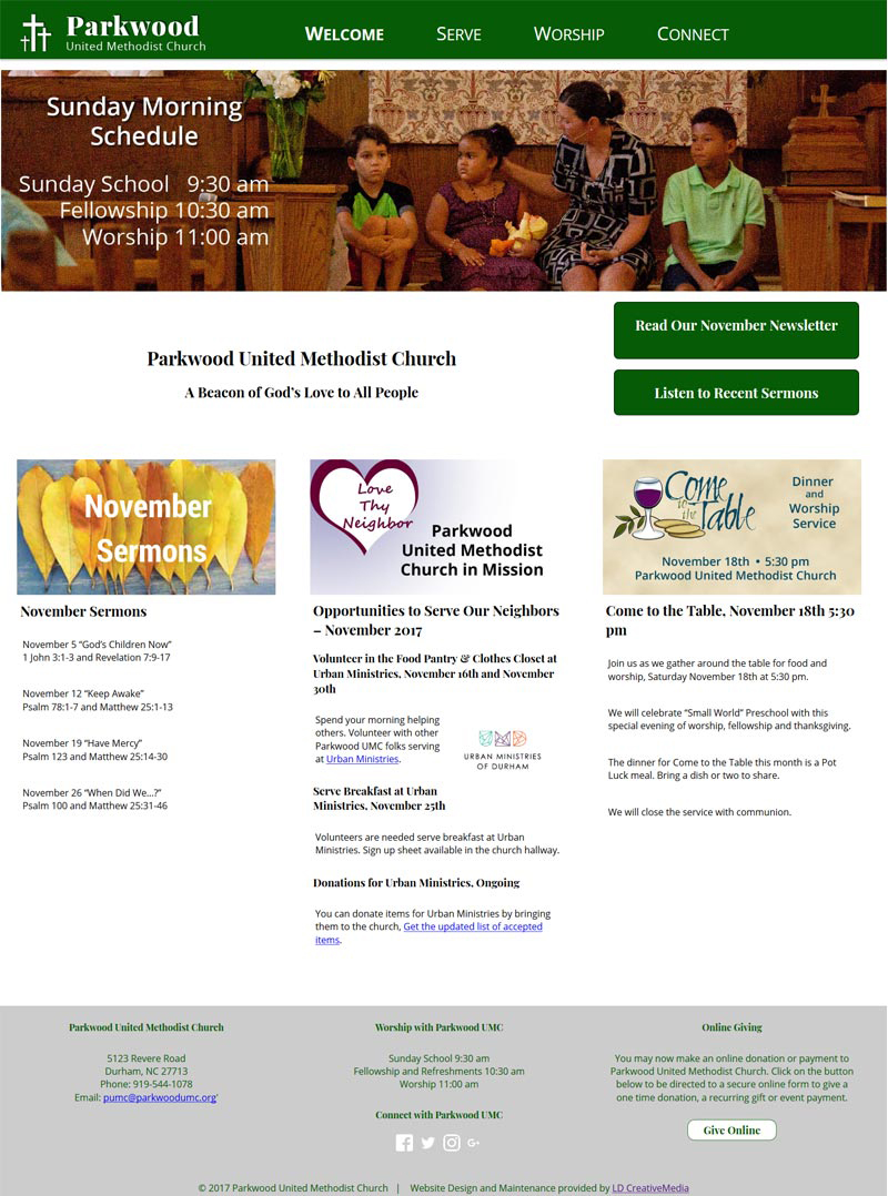 Website Redesign for Parkwood United Methodist Church